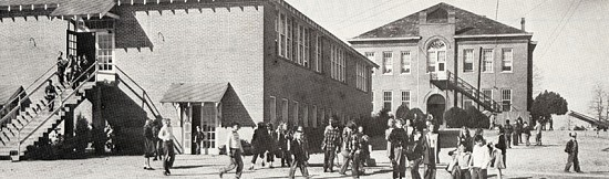 Elementary school attended by Ray Thornton; building on right formerly the Missionary Baptist College, Sheridan, Arkansas © Pryor Center for Arkansas Oral and Visual History, University of Arkansas